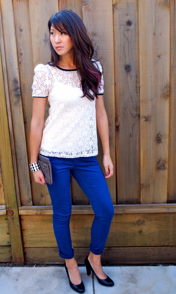 Lace top and blue pants outfit