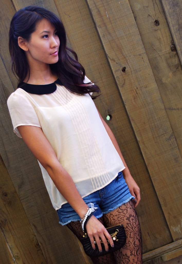 Peter Pan collar blouse Denim Shorts with Black Tights