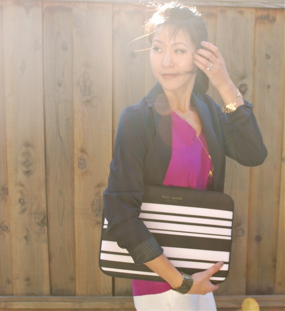 Outfit - Blazer and Kate Spade striped laptop case