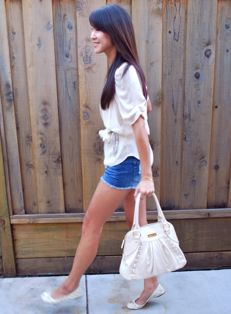 Joie blouse and denim shorts outfit