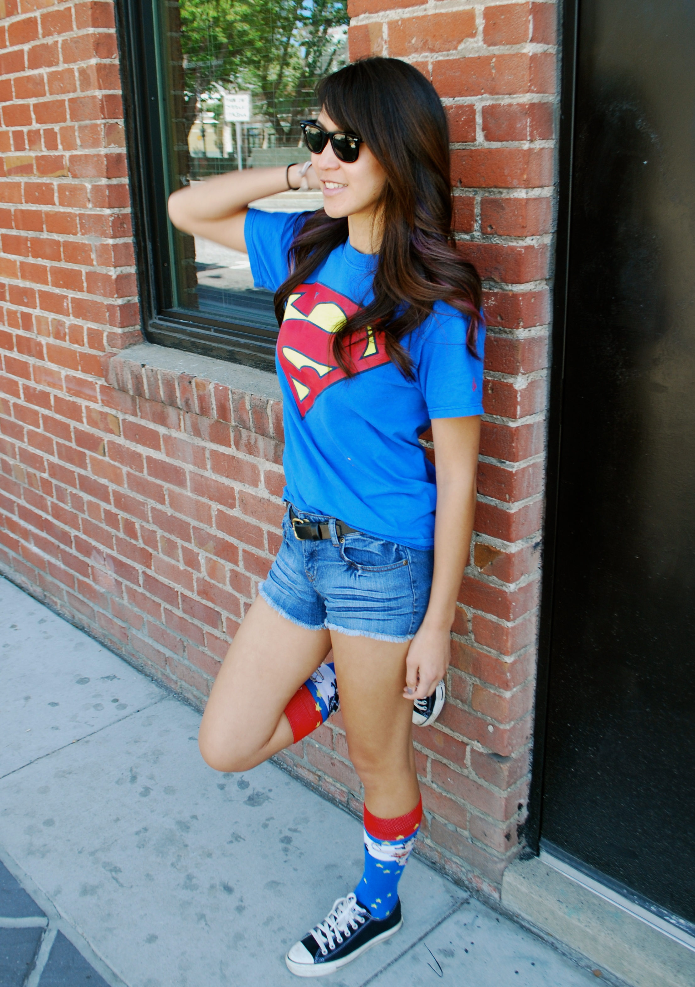 Comic Fest Outfit - Superman shirt and Wonder Woman socks