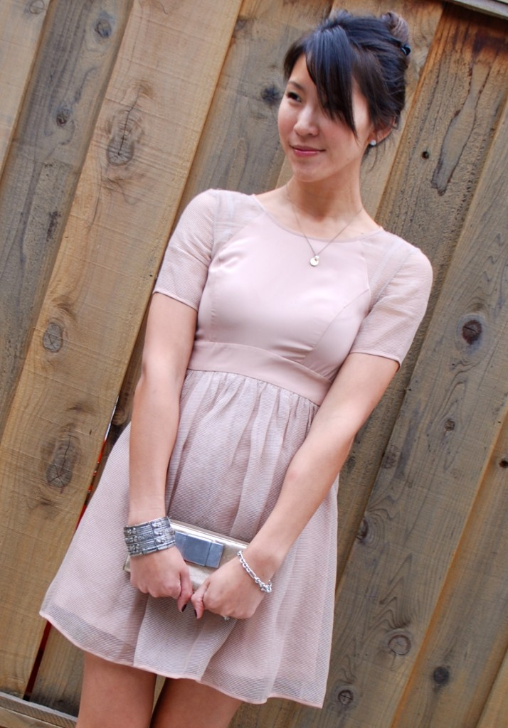 BCBGeneration Sheer Blush Pink Empire Waist Dress