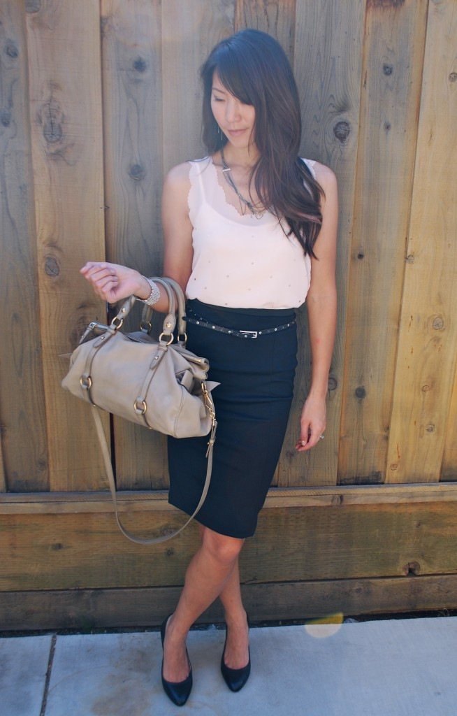 Scalloped Tank and Pencil Skirt