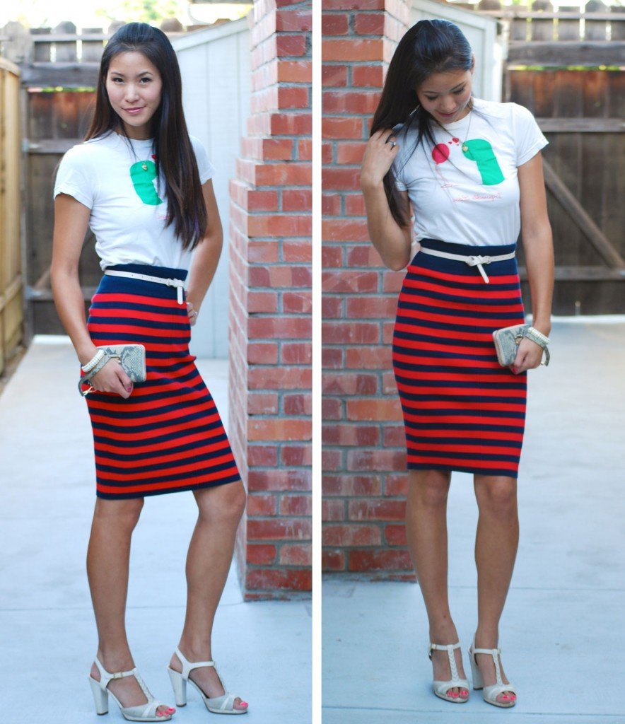 Impossible Love threadless shirt and Juicy Couture Red Stripe Skirt