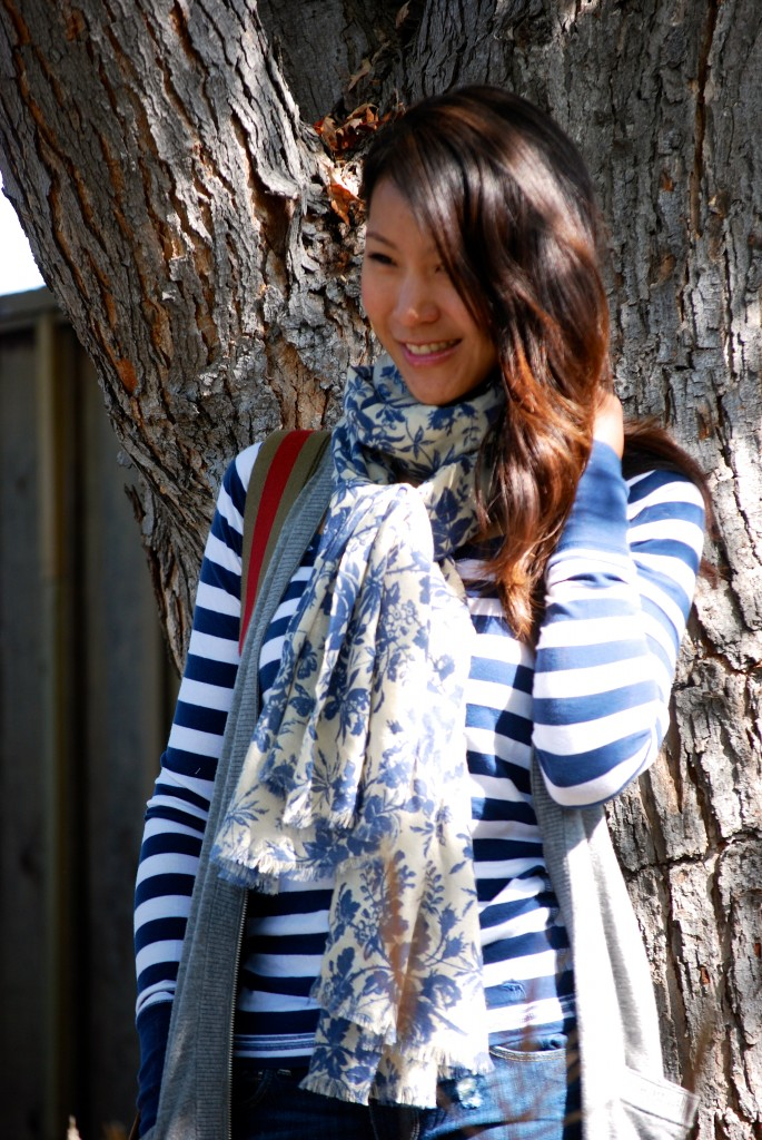 Striped shirt floral scarf and vest outfit