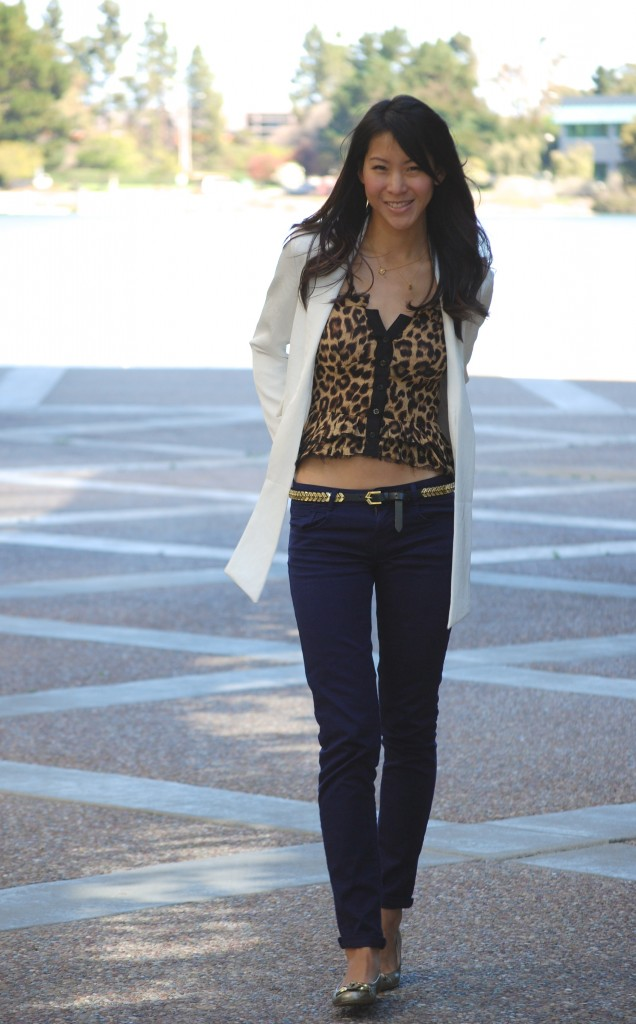 Leopard print ruffle top with blazer and colored jeans outfit