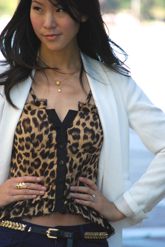 Leopard print ruffle top with blazer outfit