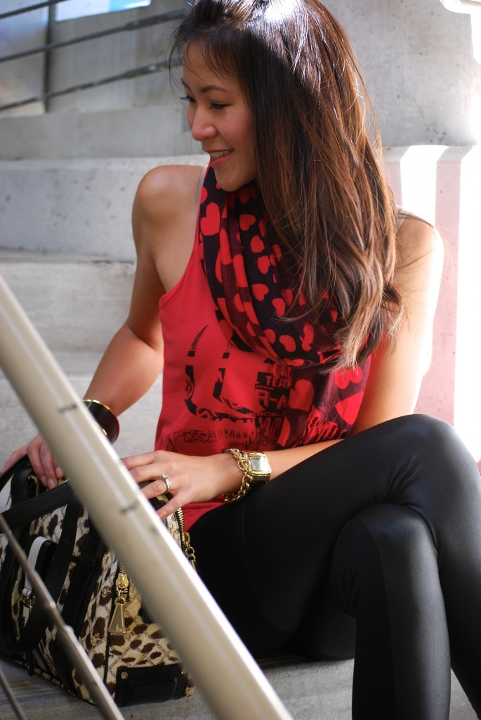 Spiderman Tank and heart print scarf with Cheetah/Leopard LAMB Purse
