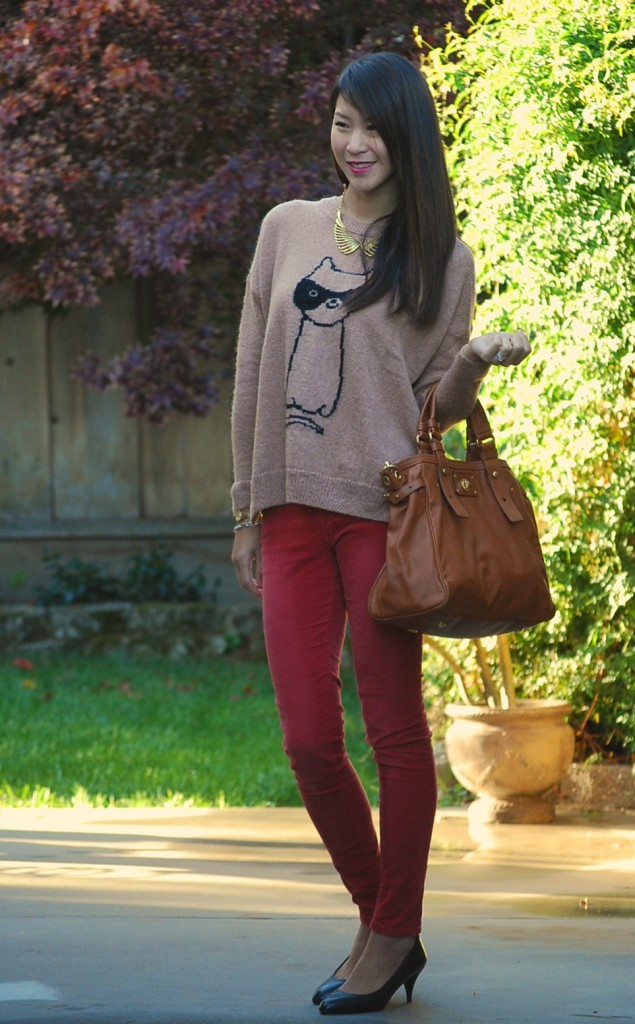 Colored Skinny Jeans and Topshop Cat Burglar Sweater Jumper