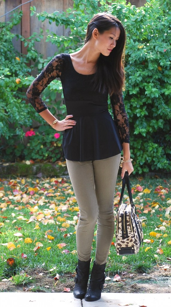 Lace Peplum and Military Skinnies