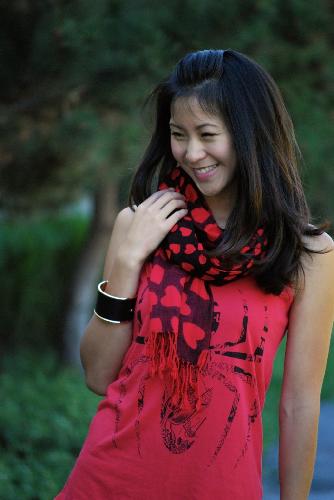 Spiderman Tank Top and Heart Scarf