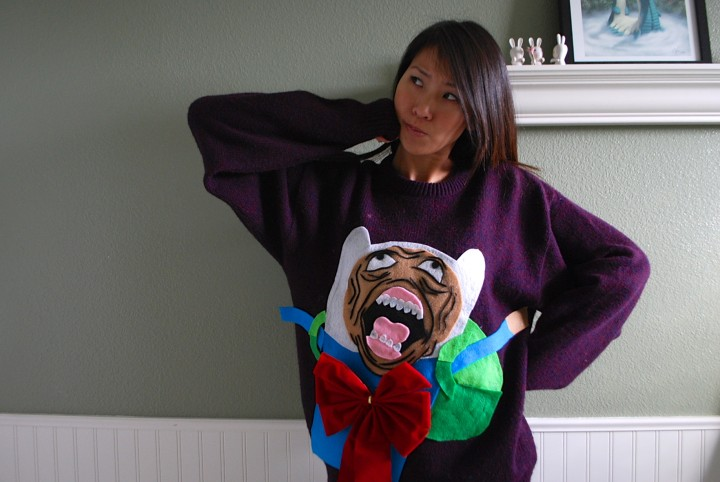 Adventure Time Fin Rage Face Ugly Sweater DIY