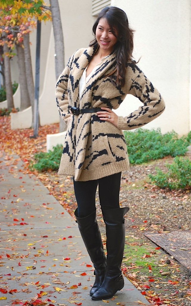 Juicy Couture Ziger Tiger Print Cardigan Coat and Over Knee Boots