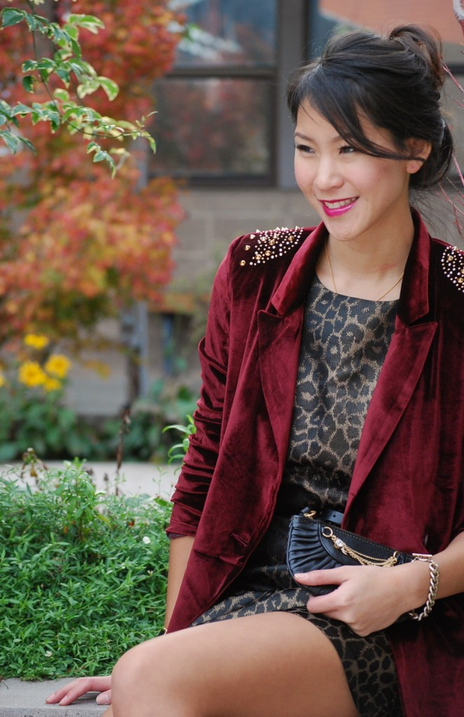 Sister Jane Studded Red Velvet Blazer with Leopard Print Dress