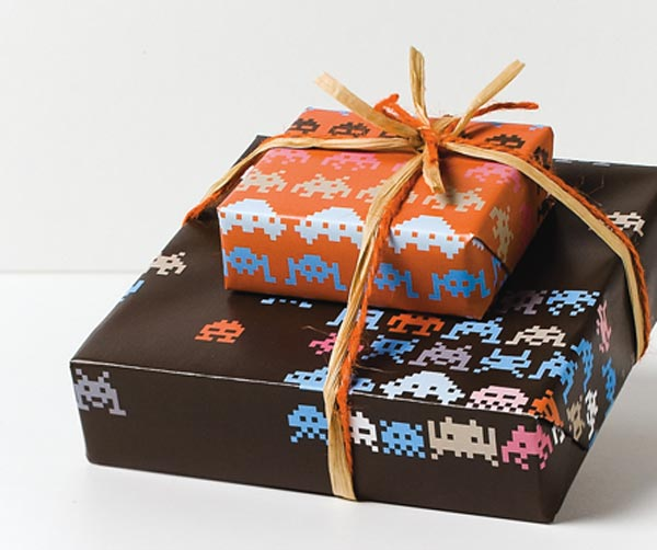 Space Invaders Gift Wrap - geeky gifts