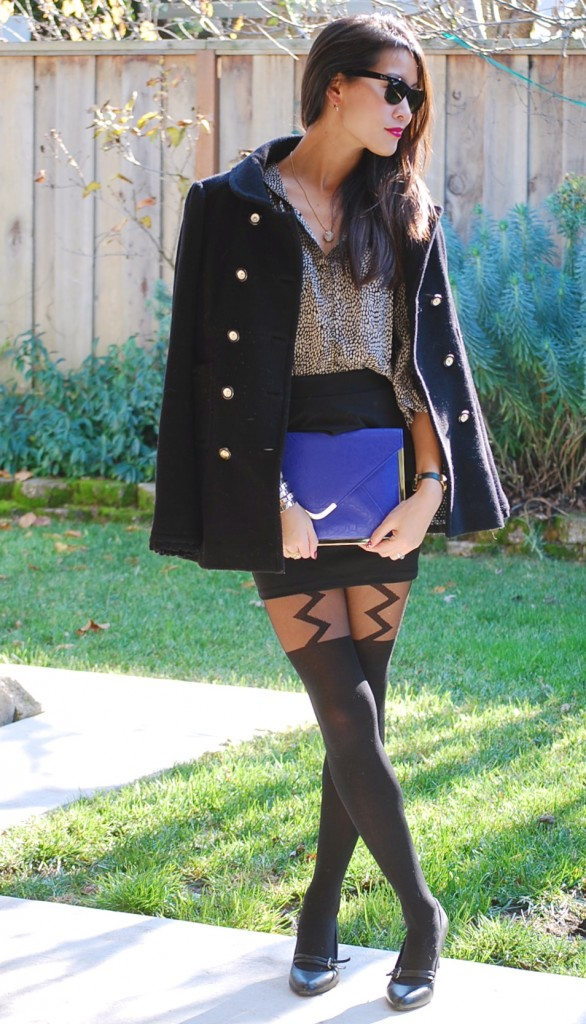 Winter Kate Swan Heart Blouse Peplum Skirt and Lightning Bolt Tights