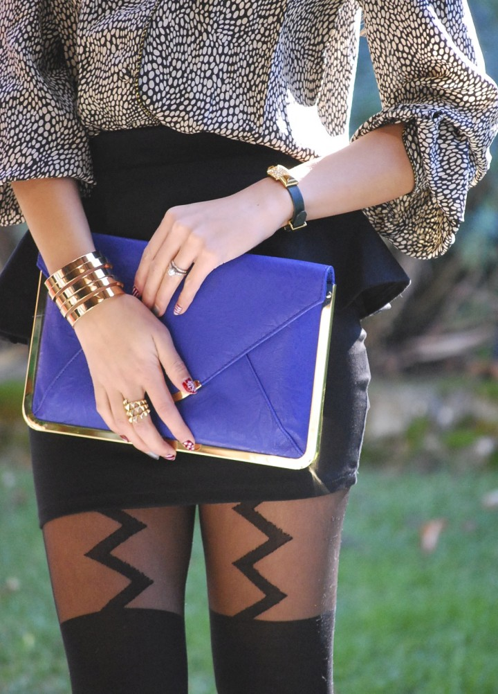 Peplum Skirt, Lightning Bolt Tights, and Blue Envelope Clutch