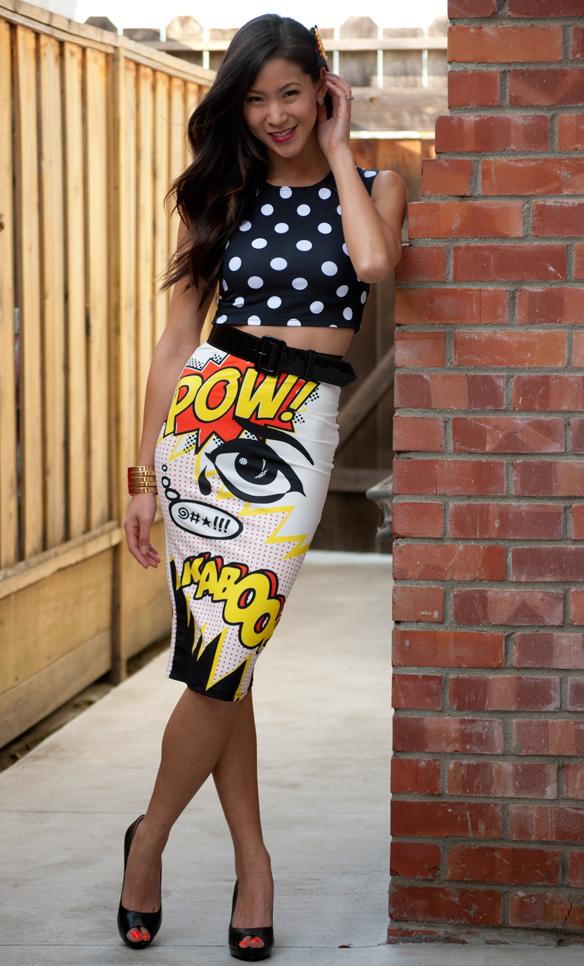 Topshop Polka Dot Crop Top and Comic Pencil Skirt