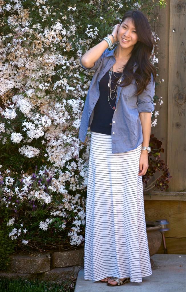 Pics For Denim Shirt And Long Skirt