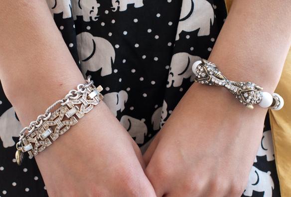 Vintage Rhinestone elephant bracelet
