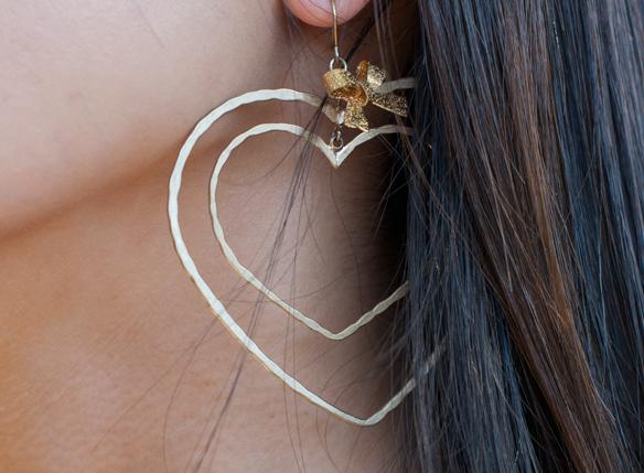 Betsey Johnson Gold Heart Earrings