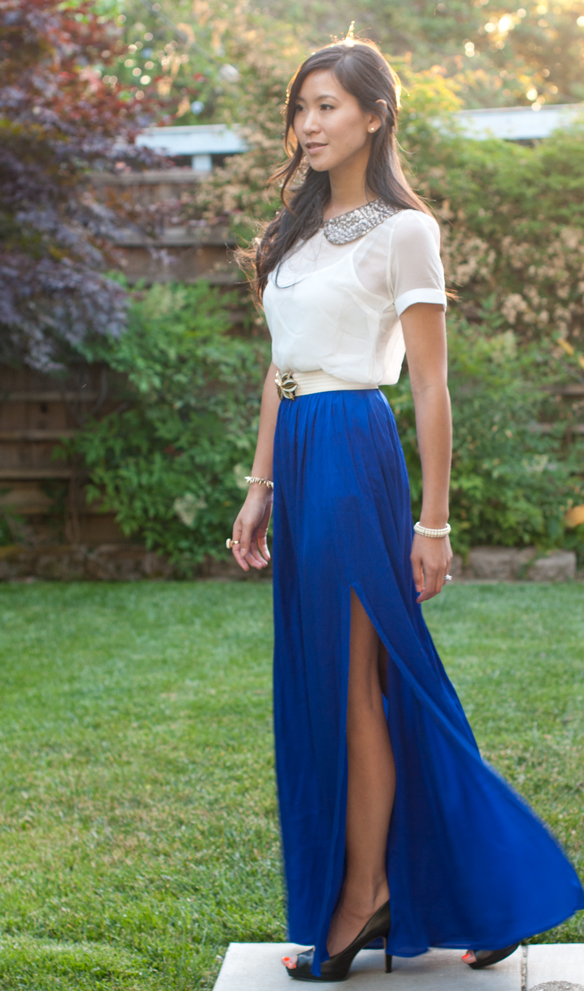 Rachel Zoe Vanessa Silk Skirt and Sequin Collar Blouse