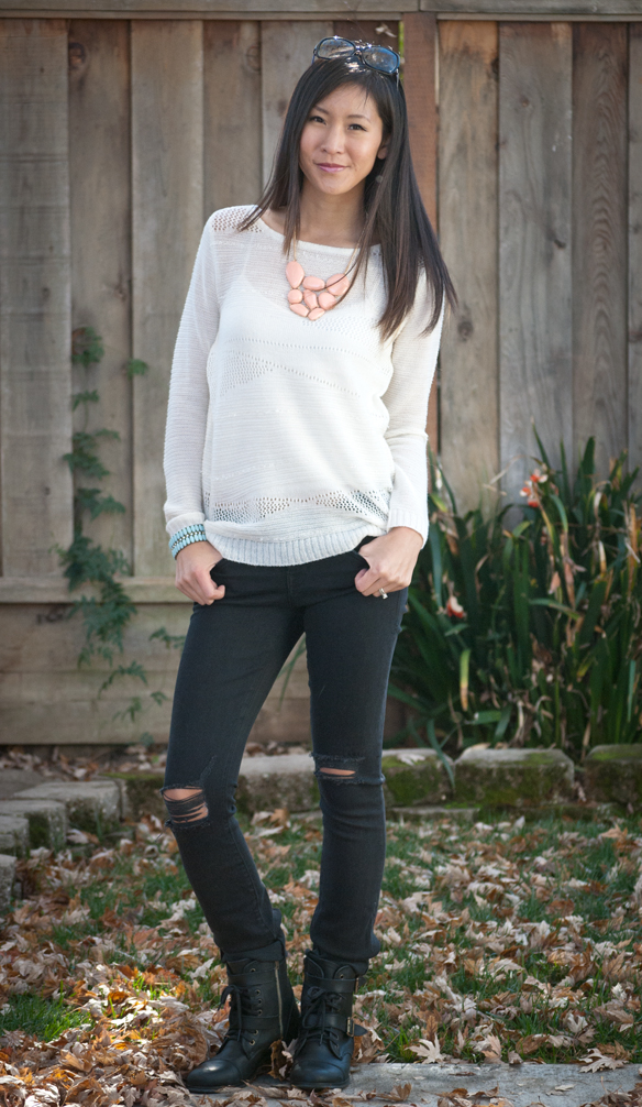 Beach Sweater and Level 99 Lily Crawford Distressed Jeans
