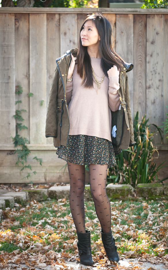 Zara Parka with Brandy Melville Sweater and Floral Skirt Tights