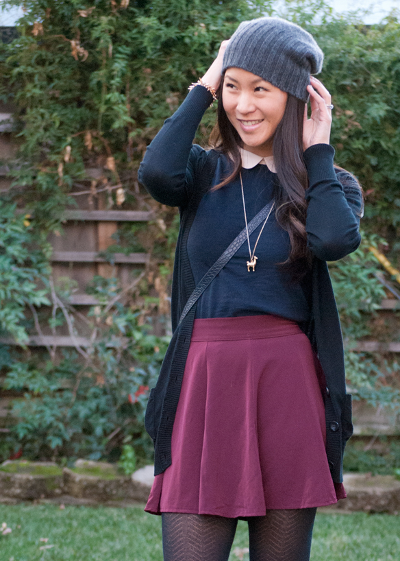 Peter Pan Collar top and Brandy Melville Skirt