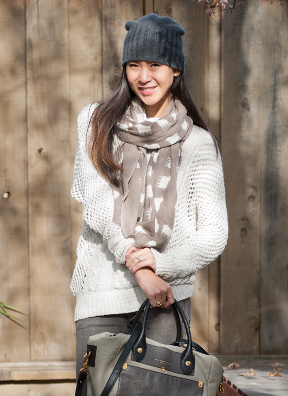 Brandy Melville Levi Crochet Sweater and Slouchy Beanie with Sophia Costas Sheep Scarf