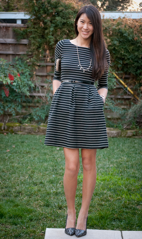 Banana Republic Fit Flare Striped Dress