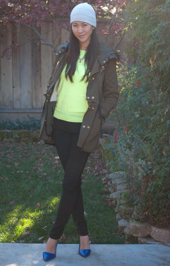 Jcrew Neon Tippi Sweater and Leather Tuxedo Skinny Jeans