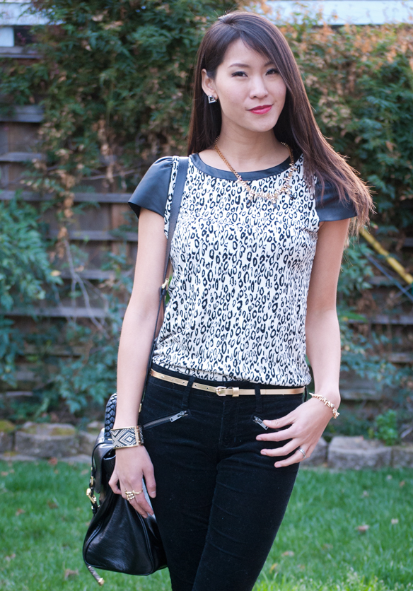 Ella Moss Black and White Leopard Print Leather top