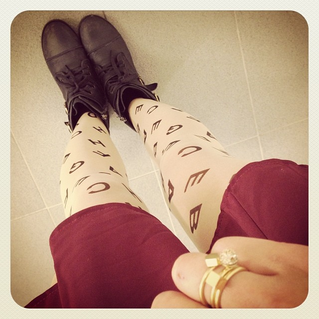 Letter #tights, rings by @madewell1937. #ootd #fashion #wearingnow #style #boots #rings