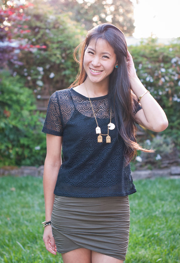 Sheer Black Top and Free People scrunch skirt w/Pac man necklace