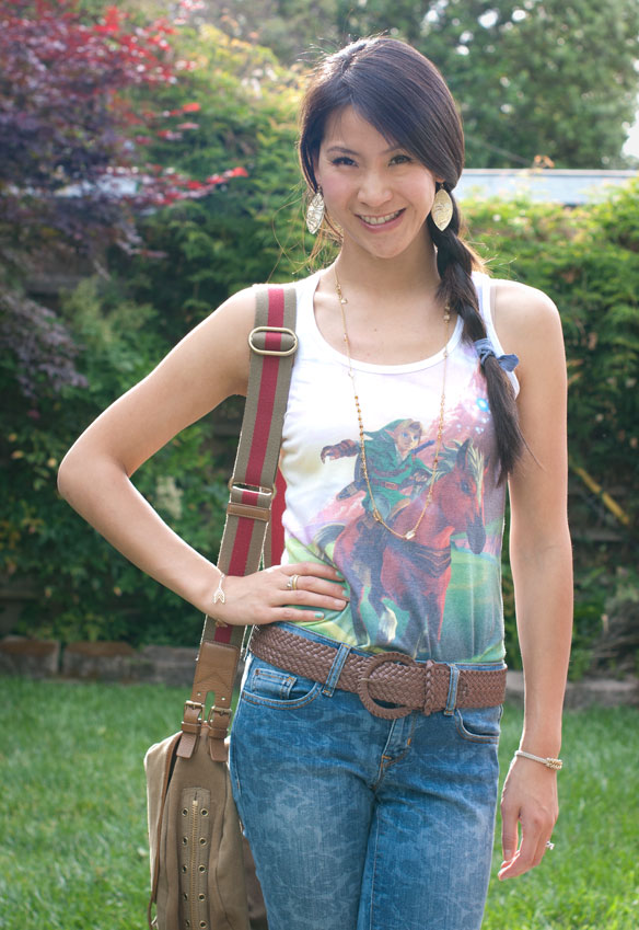 Legend of Zelda Tank Top and Floral Jeans