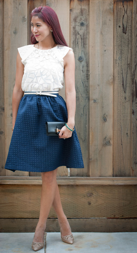 Geometric Top and Textured Midi Skirt