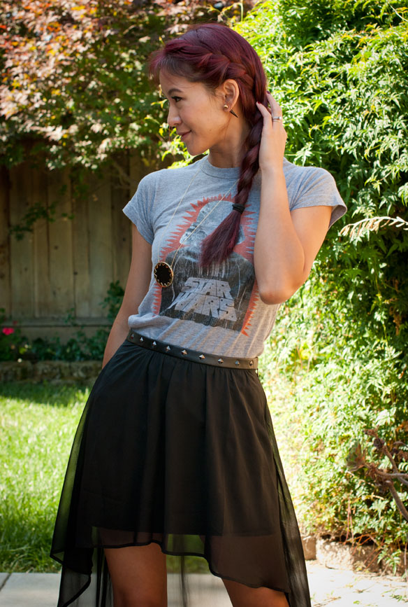 Junk Food Vader tee with hi-low skirt