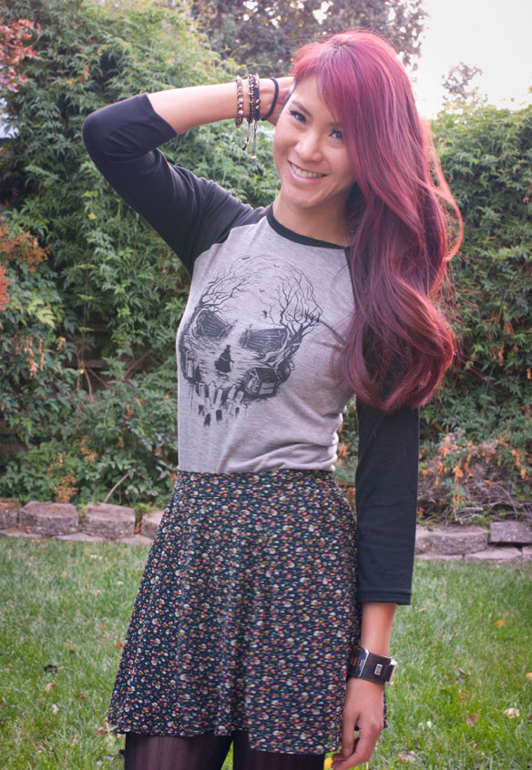 Haunted Mansion shirt with floral skirt