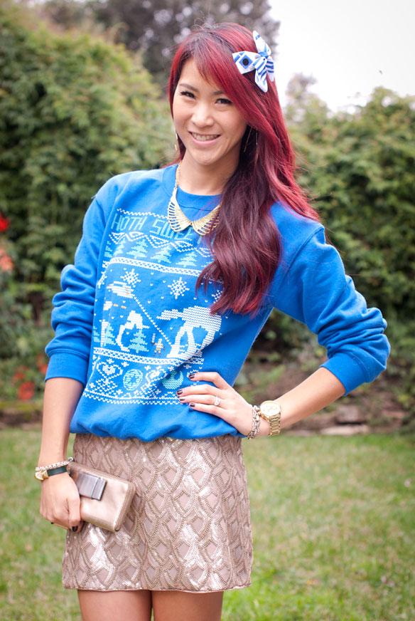 Star Wars Hoth Ugly Christmas Sweater with Sequin Skirt