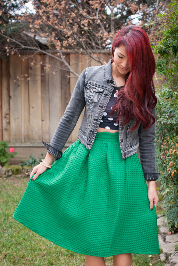 Green Midi Skirt and polka dot top