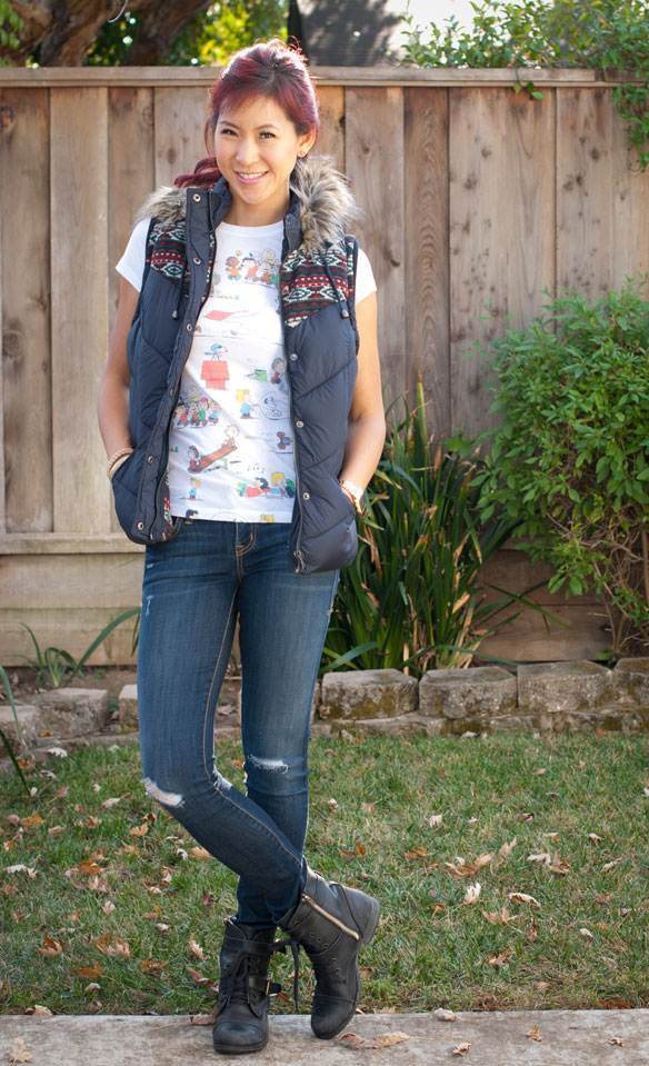 Southwestern Vest and Peanuts Shirt