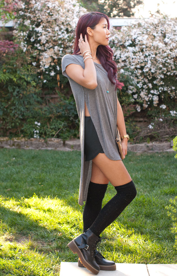 High Slit Long T-shirt with shorts