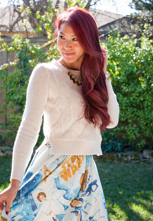 Madewell crop sweater and Star Wars bed sheet skirt