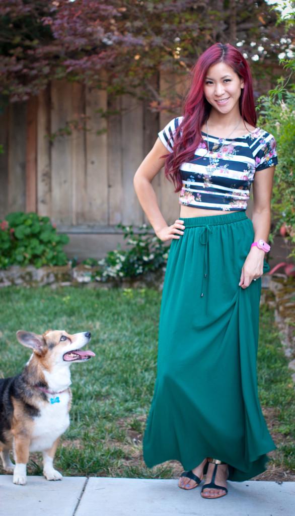 Floral Crop Top and Maxi Skirt