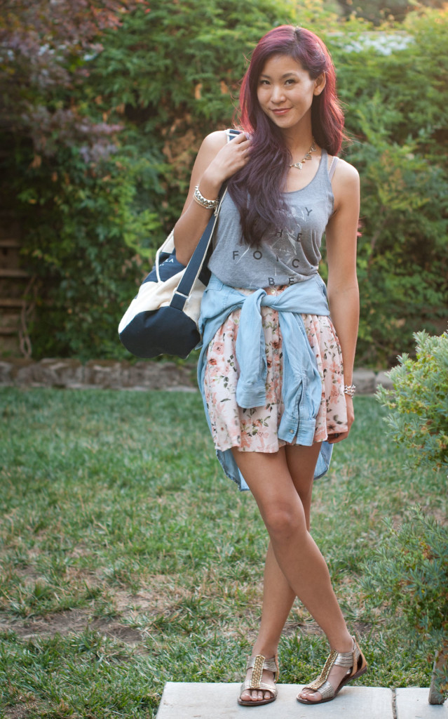 Floral Skrit and Chambray outfit