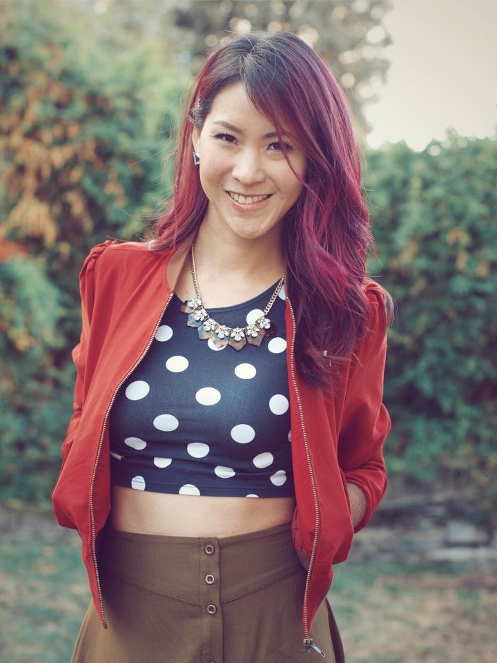 Her Universe Iron Man Stark Industries Bomber Jacket with polka dot crop top