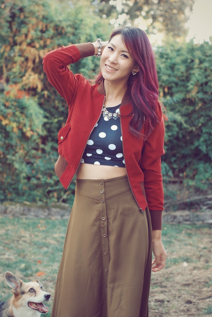 Bomber Jacket with Midi Skirt outfit