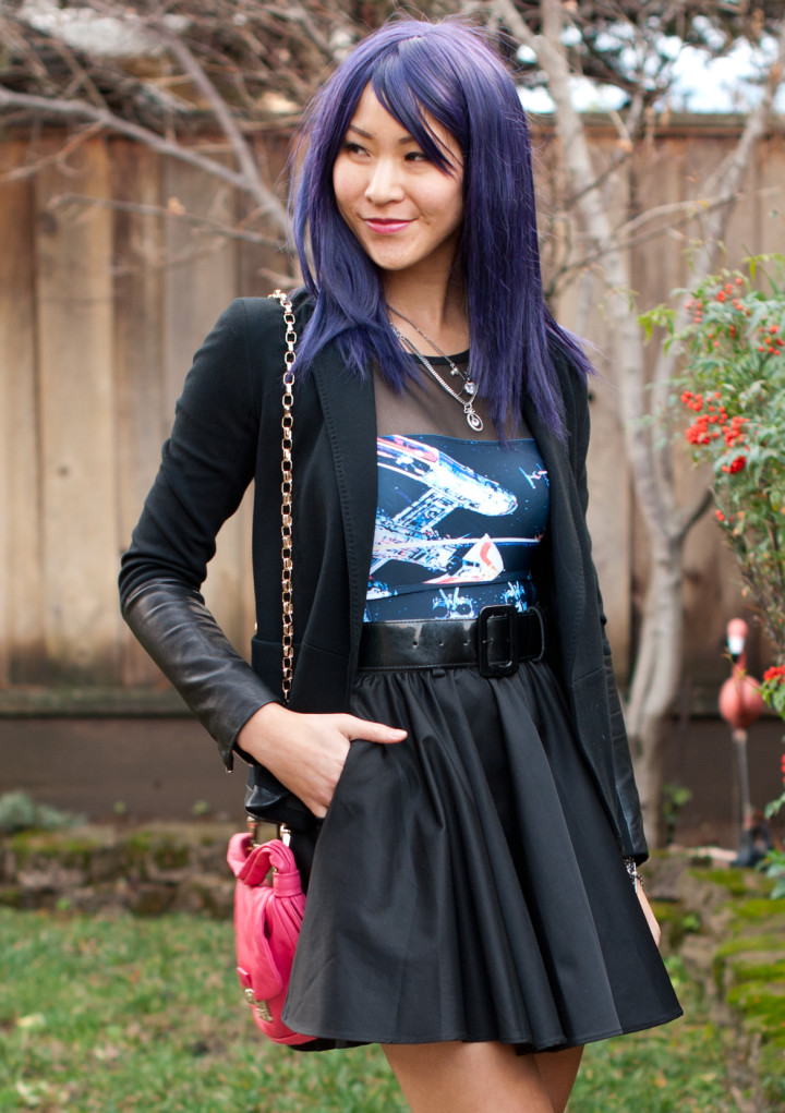 Purple Wig Star Wars Bodysuit and Skirt
