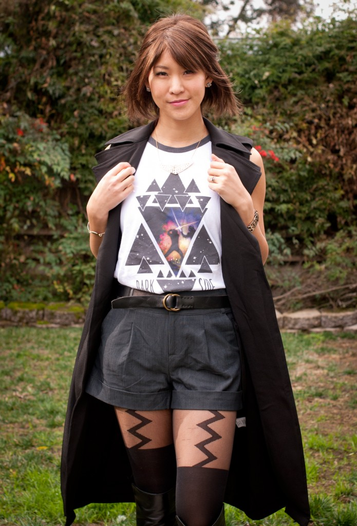 Trench Coat Vest with Shorts and Suspender Tights